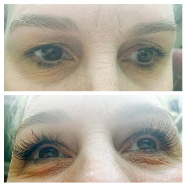 Before after lash extensions