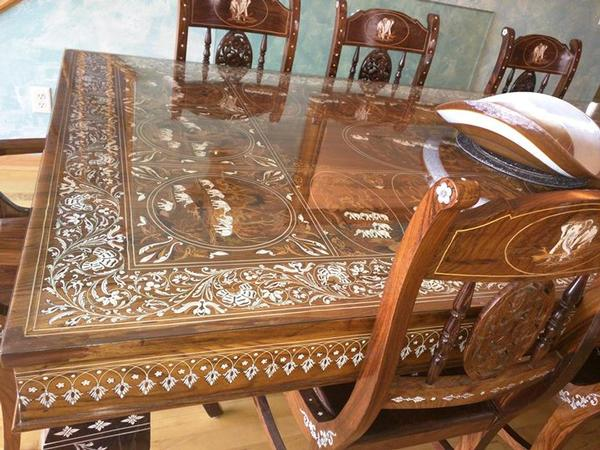9 Piece Rosewood Marble Inlays Dining Table